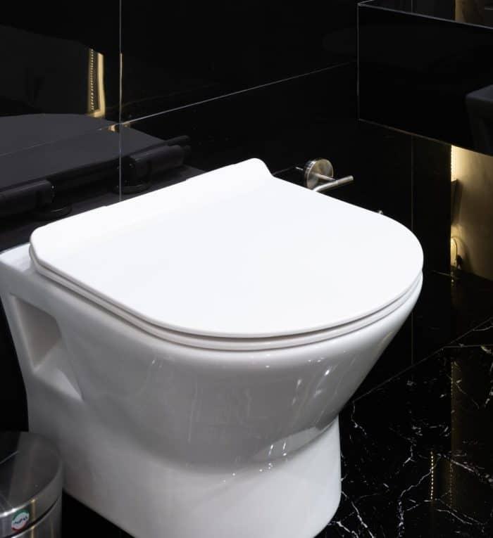 A white round toilet bowl